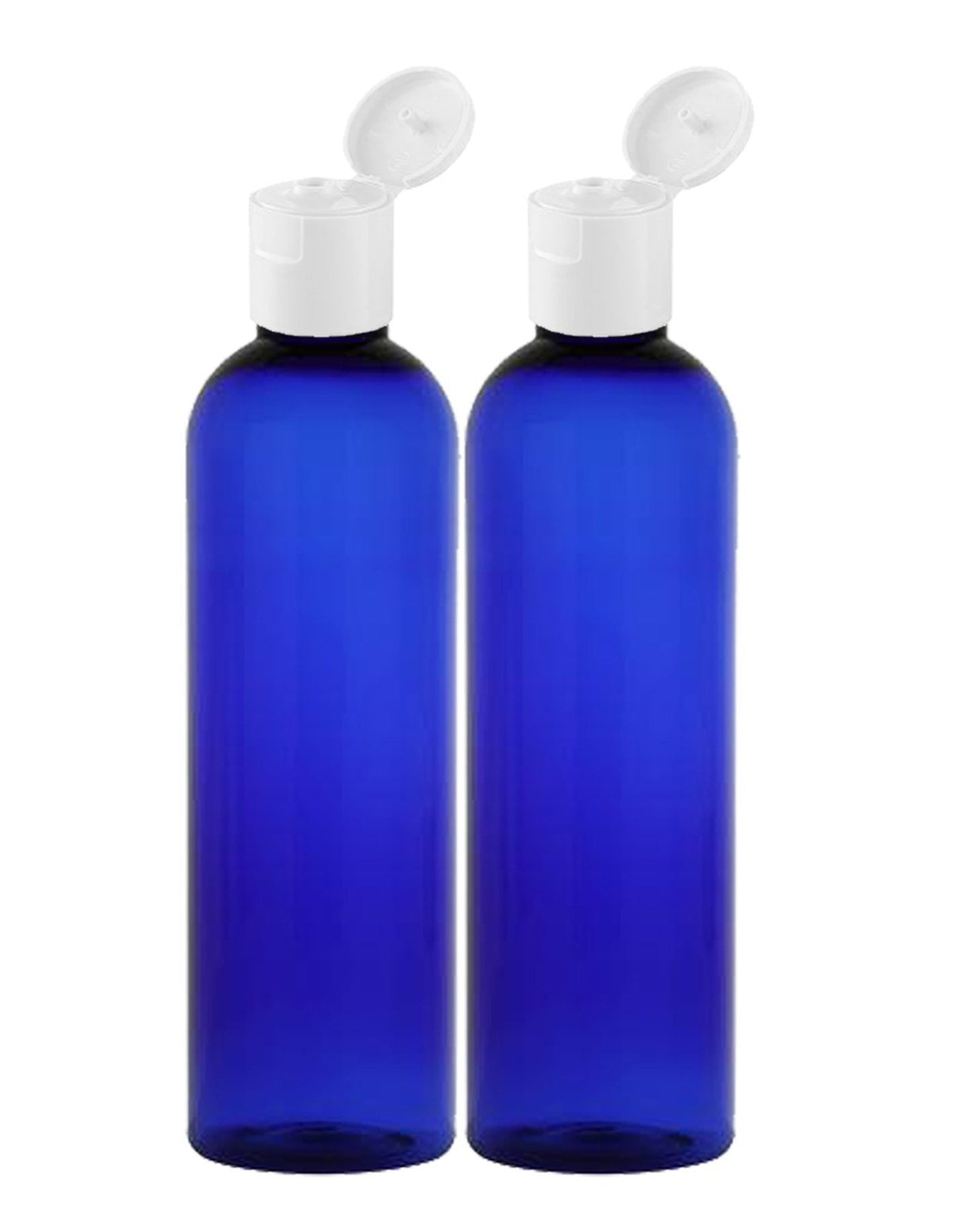 MoYo Natural Labs 8 oz Travel Bottles, Empty Travel Containers with Flip Caps, BPA Free PET Plastic Squeezable Toiletry/Cosmetic Bottles (2 pack, Cobalt Blue)
