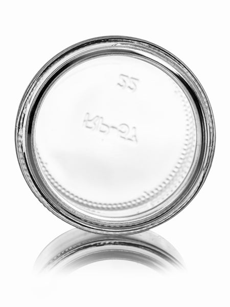 MoYo Natural Labs 4 oz clear glass straight-sided round jar, Dome Black Lid with Foam Liner, 58-400 neck finish (Clear, Pack of 100)