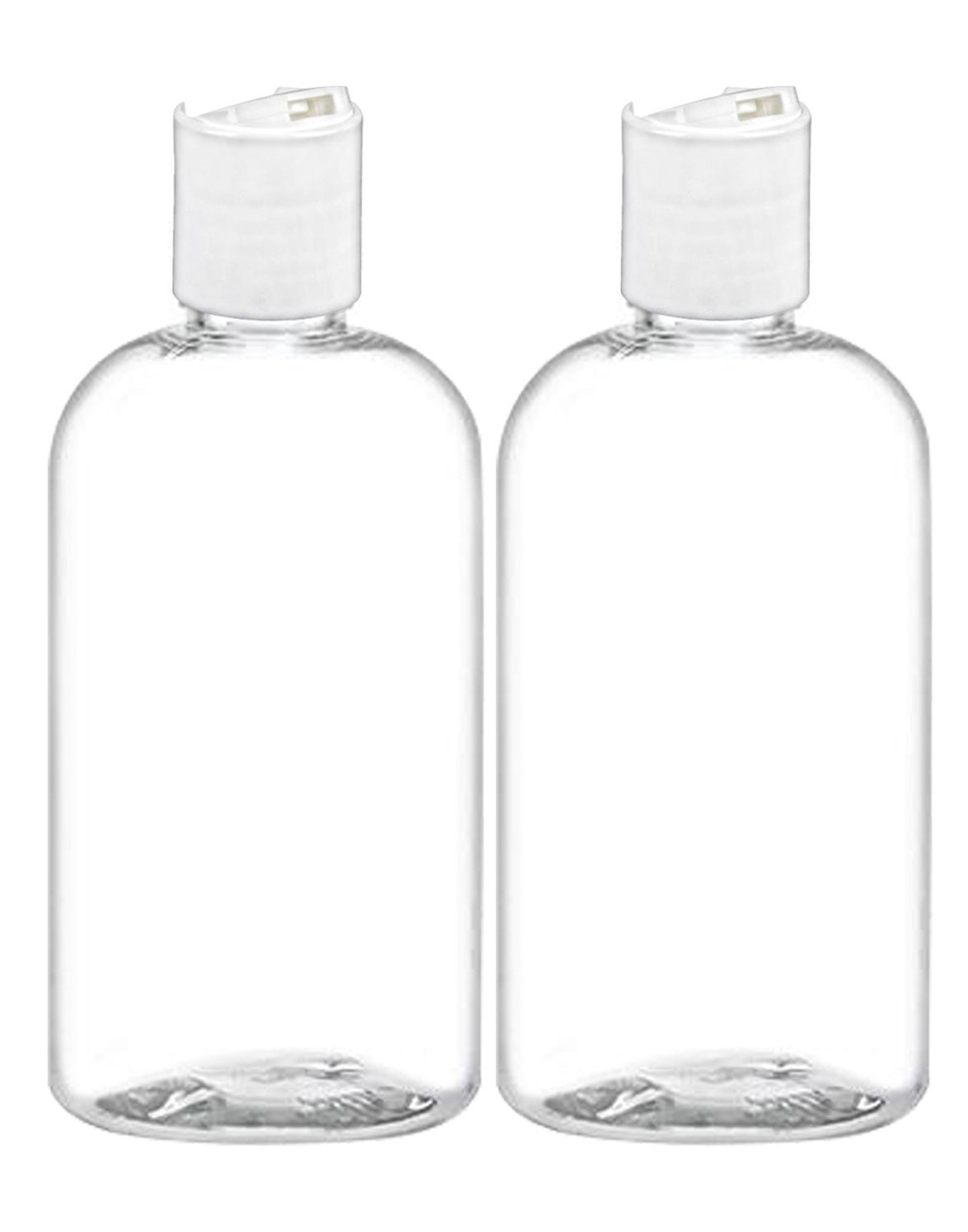 MoYo Natural Labs 8 oz Boston Travel Bottles, Empty Travel Containers with Disc Caps, BPA Free PET Plastic Refillable Toiletry/Cosmetic Bottle (Pack of 2, Clear)