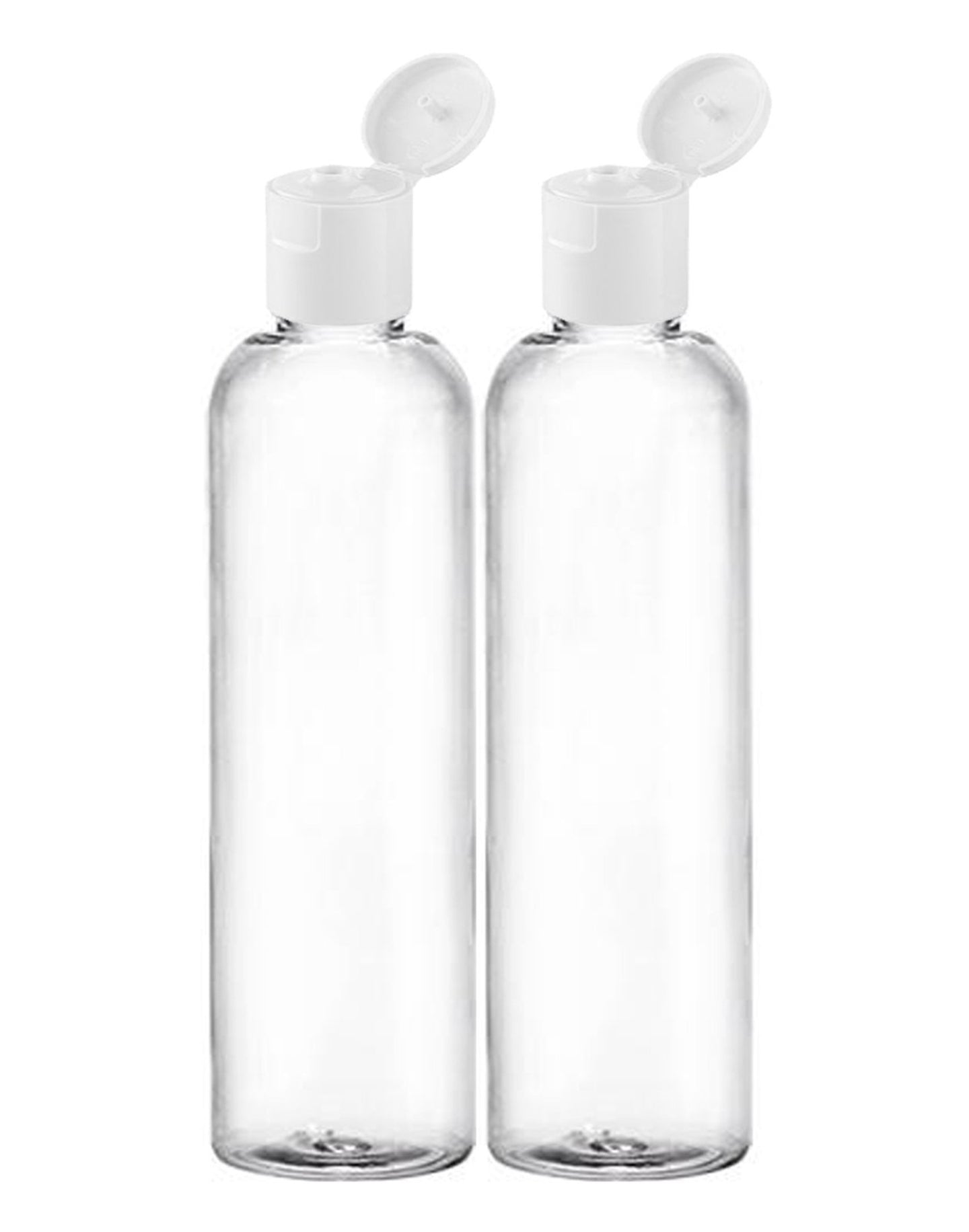 MoYo Natural Labs 8 oz Travel Bottle, Empty Travel Containers with Flip Caps, BPA Free PET Plastic Squeezable Toiletry/Cosmetic Bottle (2 pack, Clear)