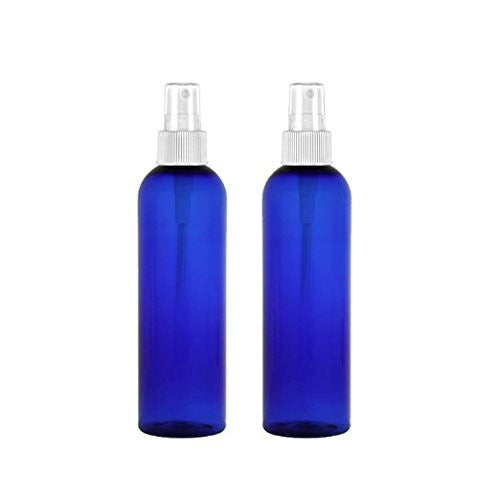 MoYo Natural Labs 8 oz Spray Bottles, Fine Mist Empty Travel Containers, BPA Free PET Plastic for Essential Oils and Liquids/Cosmetics (2 pack, Cobalt Blue)