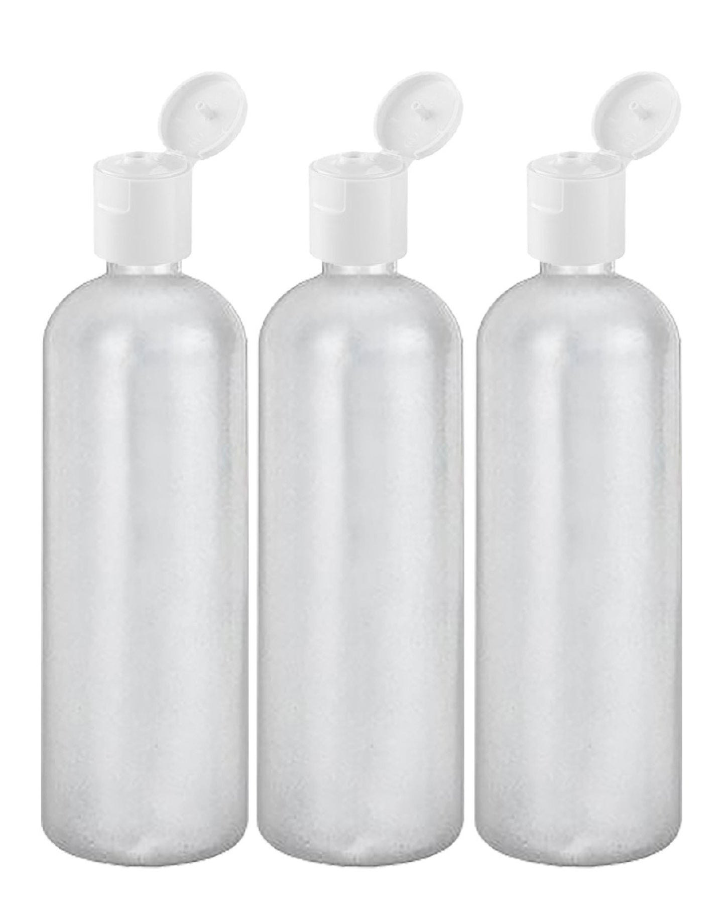 MoYo Natural Labs 32 oz Refillable Bottles, Empty Travel Containers with Flip Caps, BPA Free HDPE Plastic Squeezable Toiletry/Cosmetics Bottle (Pack of 3, HDPE Translucent White)