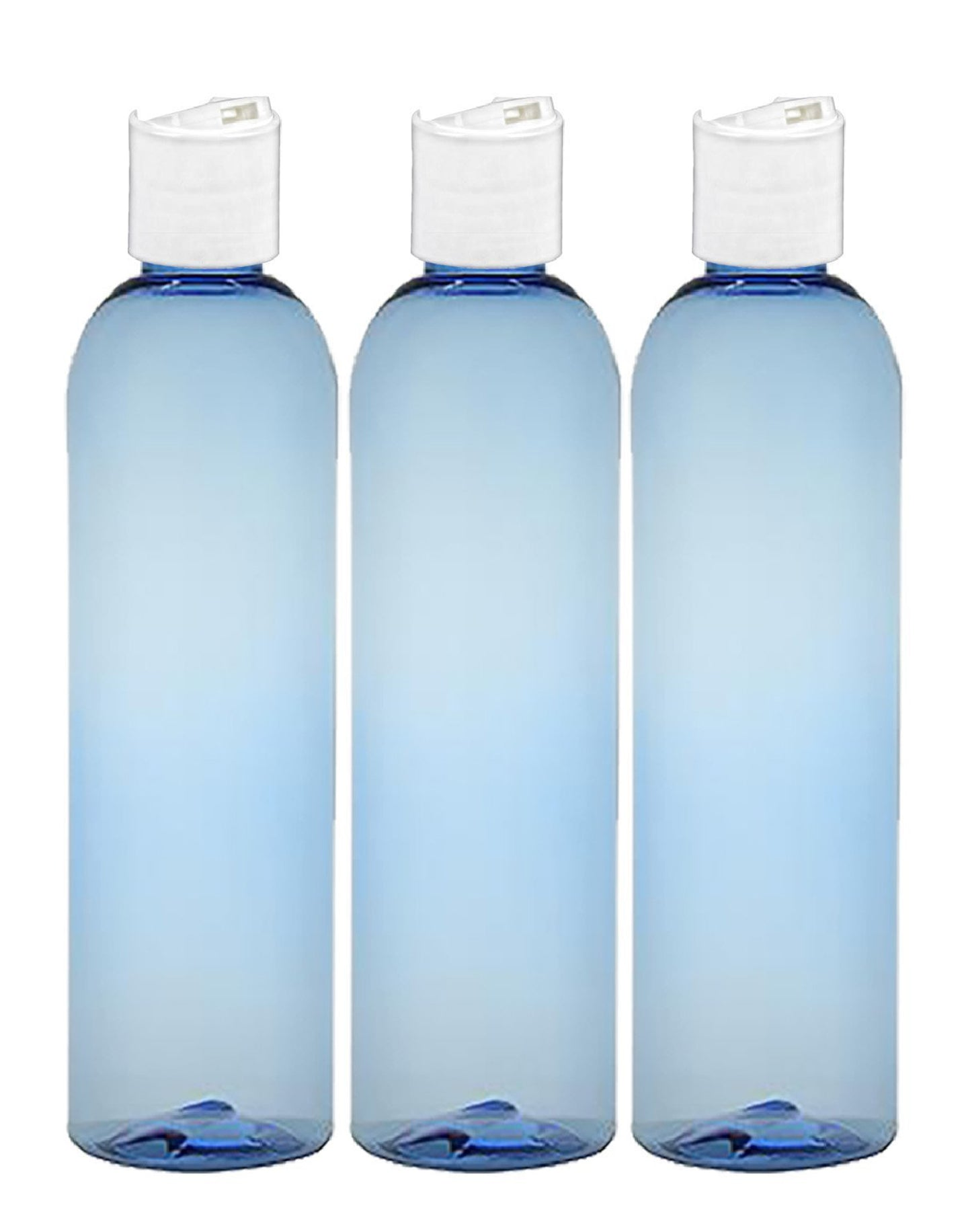 MoYo Natural Labs 8 oz Travel Bottles, Empty Travel Containers with Disc Caps, BPA Free PET Plastic Squeezable Toiletry/Cosmetic Bottles (Pack of 3, Light Blue)