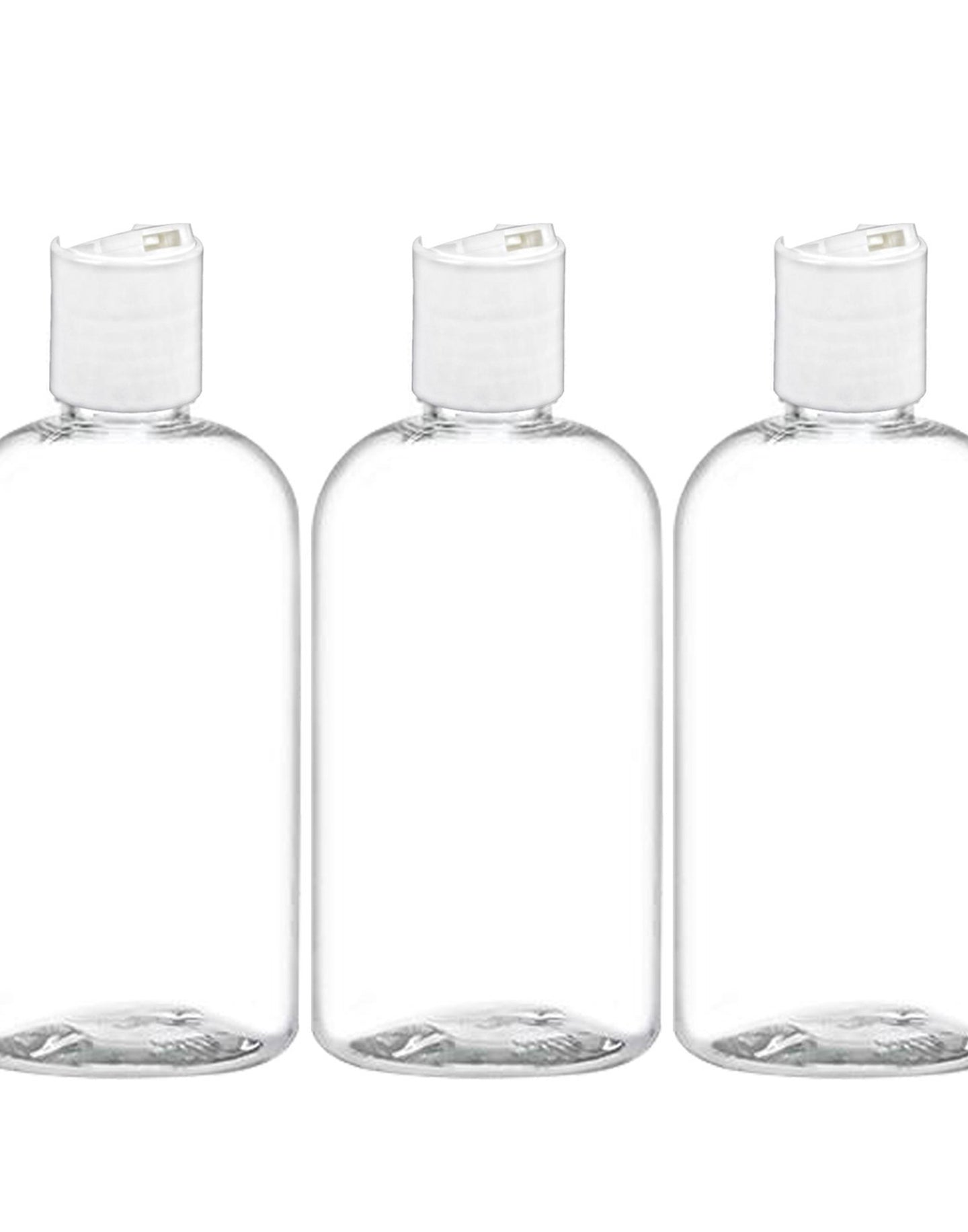 MoYo Natural Labs 8 oz Boston Travel Bottles, Empty Travel Containers with Disc Caps, BPA Free PET Plastic Refillable Toiletry/Cosmetic Bottle (Pack of 3, Clear)