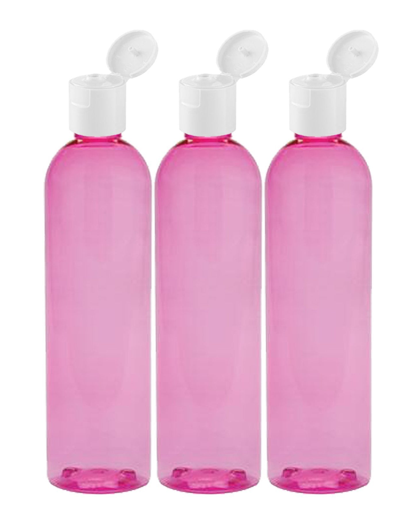 MoYo Natural Labs 8 oz Travel Bottles, Empty Travel Containers with Flip Caps, BPA Free PET Plastic Squeezable Toiletry/Cosmetic Bottles (3 pack, Candy pink)
