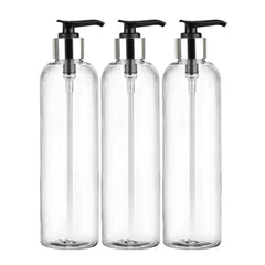 MoYo Natural Labs 8 oz Pump Dispenser, Empty Soap and Lotion Bottles with Locking Cap, BPA Free PET Plastic Containers for Essential Oils/Liquids (3 pack, Clear)
