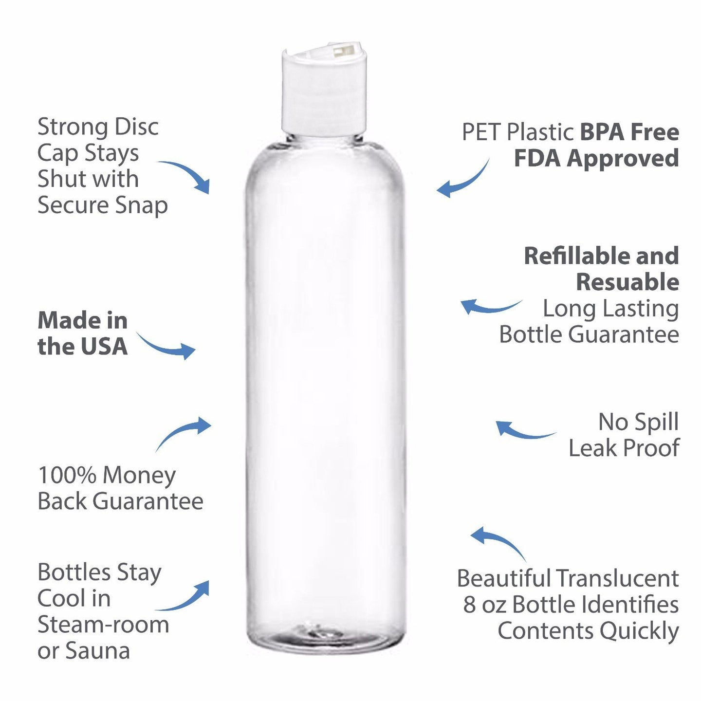 MoYo Natural Labs 8 oz Travel Bottles, Empty Travel Containers with Disc Caps, BPA Free PET Plastic Squeezable Toiletry/Cosmetic Bottles (Pack of 50, Clear)