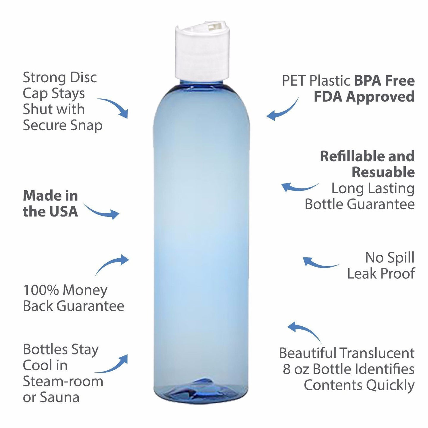 MoYo Natural Labs 8 oz Travel Bottles, Empty Travel Containers with Disc Caps, BPA Free PET Plastic Squeezable Toiletry/Cosmetic Bottles (Pack of 50, Light Blue)