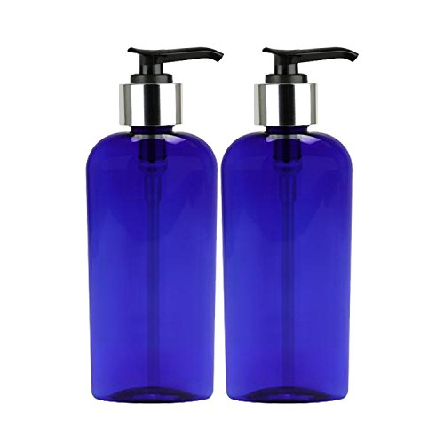 Moyo Natural Labs Oval Lotion bottle 8 oz Soap Dispensers with Beautiful Silver Tone Pump Soap Dispenser BPA Free Made in the USA Midnight Blue 2 Pack