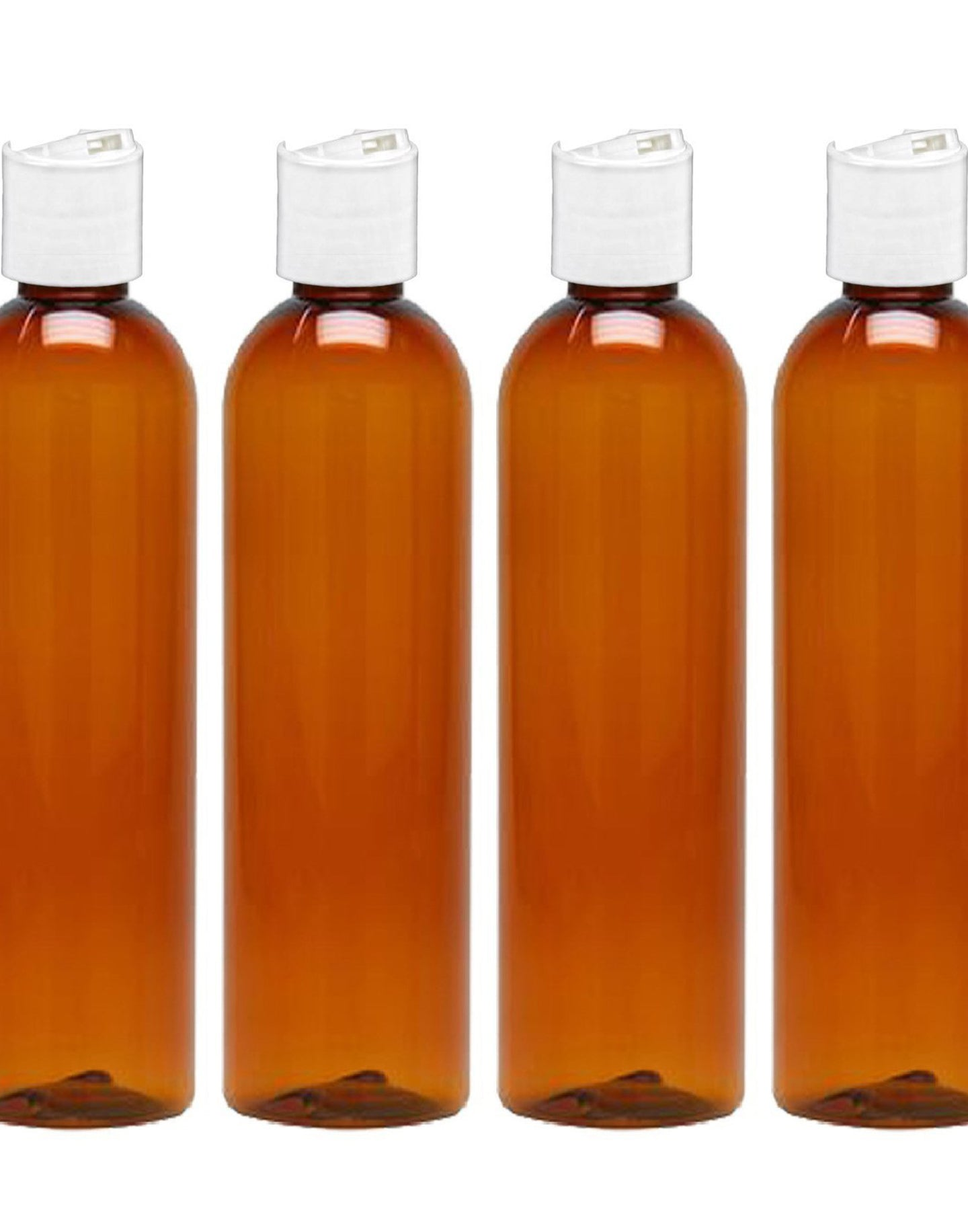 MoYo Natural Labs 8 oz Travel Bottles, Empty Travel Containers with Disc Caps, BPA Free PET Plastic Squeezable Toiletry/Cosmetic Bottles (Pack of 4, Amber)