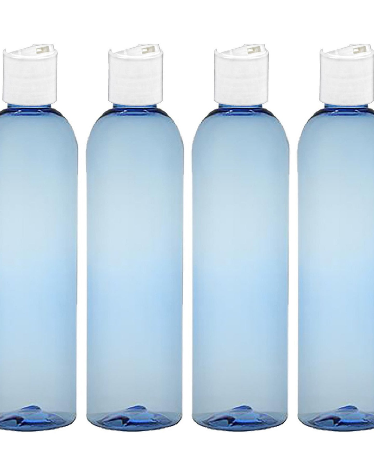 MoYo Natural Labs 8 oz Travel Bottles, Empty Travel Containers with Disc Caps, BPA Free PET Plastic Squeezable Toiletry/Cosmetic Bottles (Pack of 4, Light Blue)