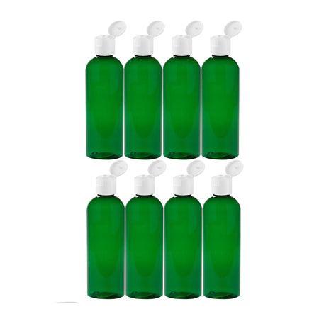 MoYo Natural Labs 4 oz Travel Bottles, Empty Travel Containers with Flip Caps, BPA Free PET Plastic Squeezable Toiletry/Cosmetic Bottles (Neck 20-410) (Pack of 8, Forest Green)
