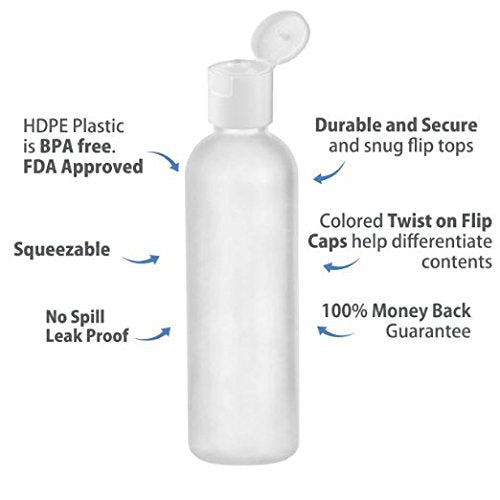 MoYo Natural Labs 4 oz Travel Bottles, Empty Travel Containers with Disc Caps, BPA Free HDPE Plastic Squeezable Toiletry/Cosmetic Bottles (Neck 24-410) (Pack of 50, HDPE Translucent White)