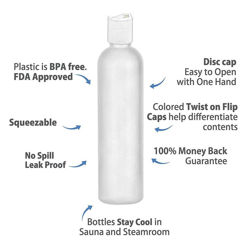 MoYo Natural Labs 4 oz Travel Bottles, Empty Travel Containers with Disc Caps, BPA Free HDPE Plastic Squeezable Toiletry/Cosmetic Bottles (Neck 24-410) (Pack of 8, HDPE Translucent White)