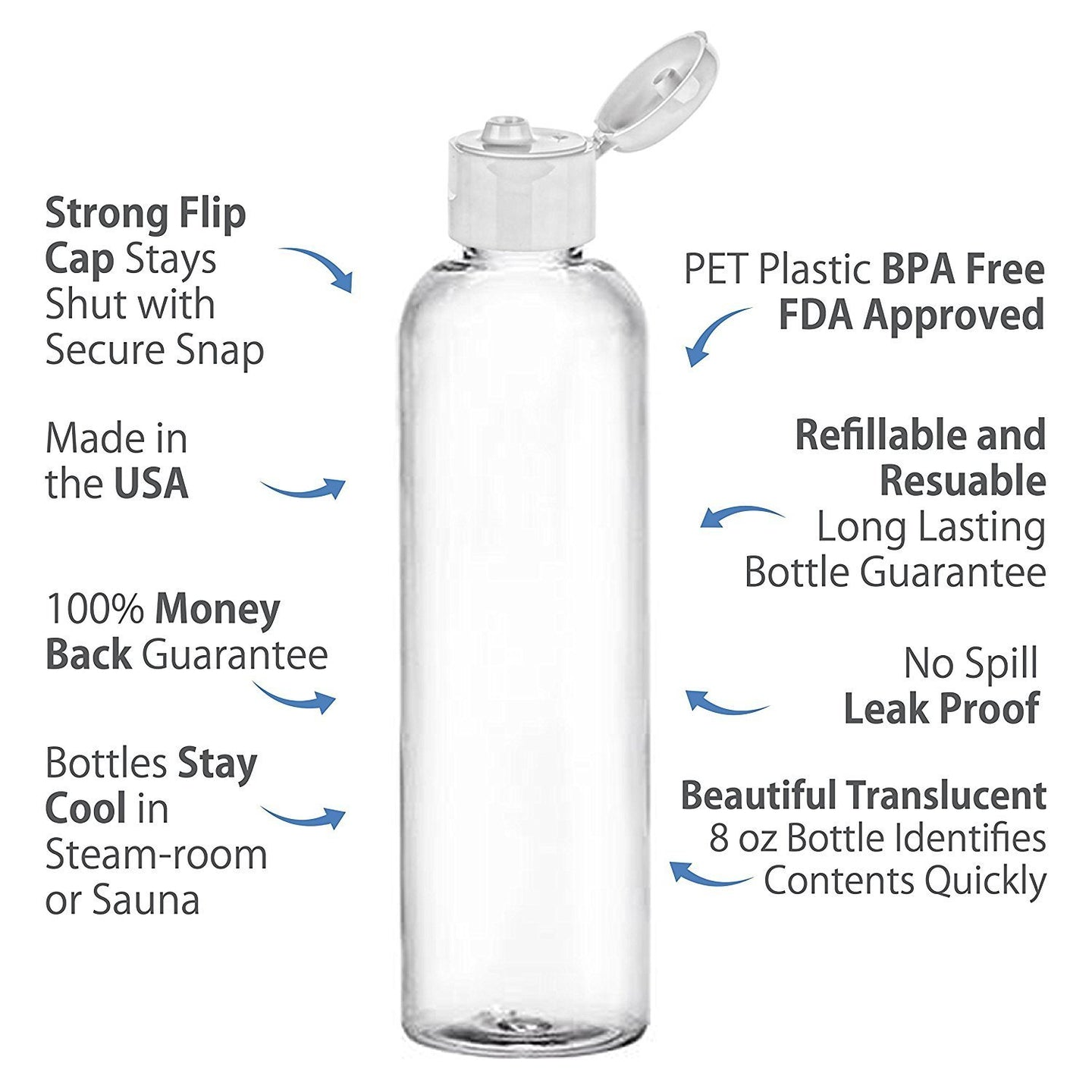 MoYo Natural Labs 4 oz Travel Bottles, Empty Travel Containers with Flip Caps, BPA Free PET Plastic Squeezable Toiletry/Cosmetic Bottles (Neck 20-410) (Pack of 1, Clear)