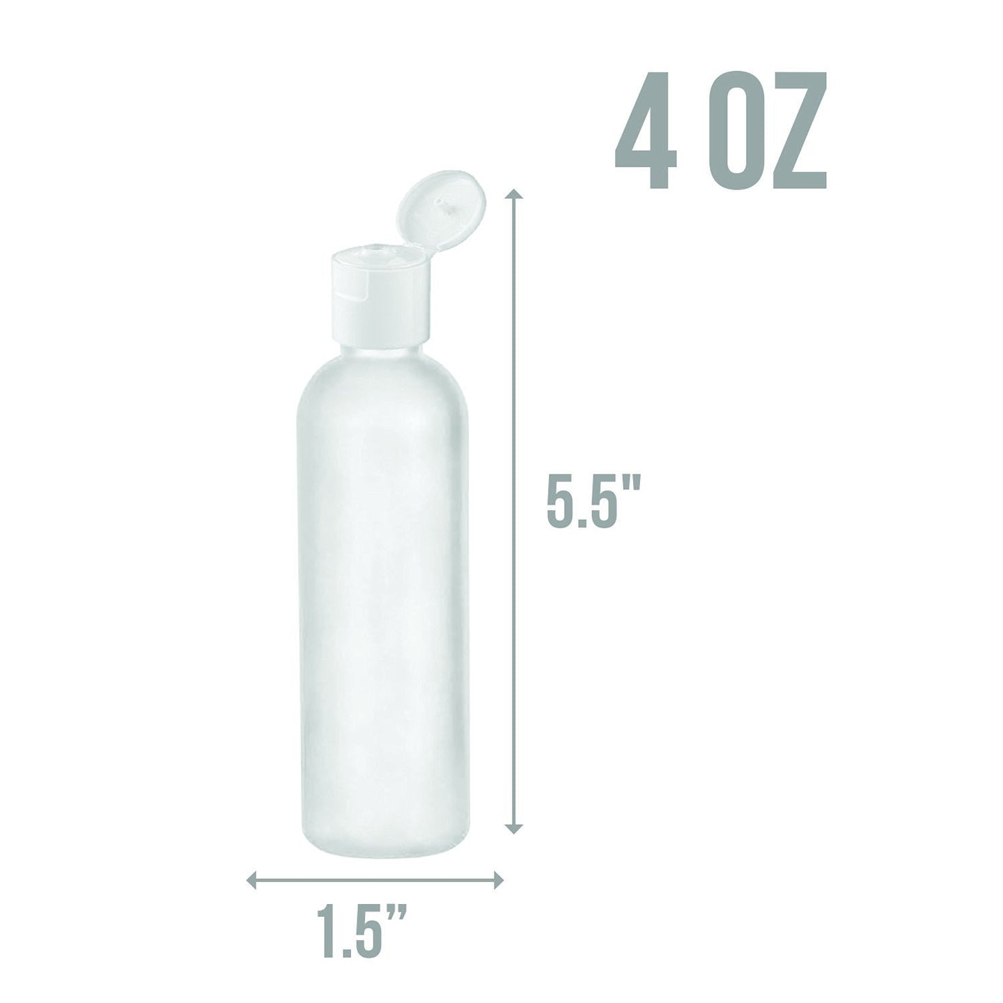 MoYo Natural Labs 4 oz Travel Bottles, Empty Travel Containers with Flip Caps, BPA Free HDPE Plastic Squeezable Toiletry/Cosmetic Bottles (Neck 24-410) (Pack of 30, Translucent White)