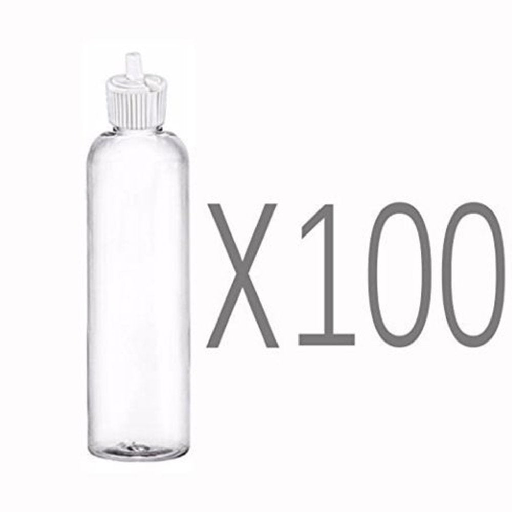 MoYo Natural Labs 4 oz Squirt Bottles, Squeezable Empty Travel Containers, BPA Free PET Plastic for Essential Oils and Liquids, Toiletry/Cosmetic Bottles (Neck 20-410) (Pack of 100, Clear)
