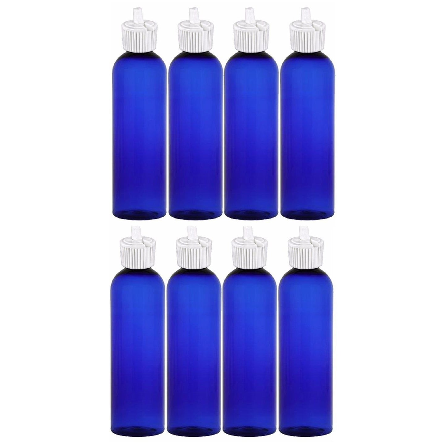 MoYo Natural Labs 4 oz Squirt Bottles, Squeezable Empty Travel Containers, BPA Free PET Plastic for Essential Oils and Liquids, Toiletry/Cosmetic Bottles (Neck 20-410) (Pack of 8, Blue)