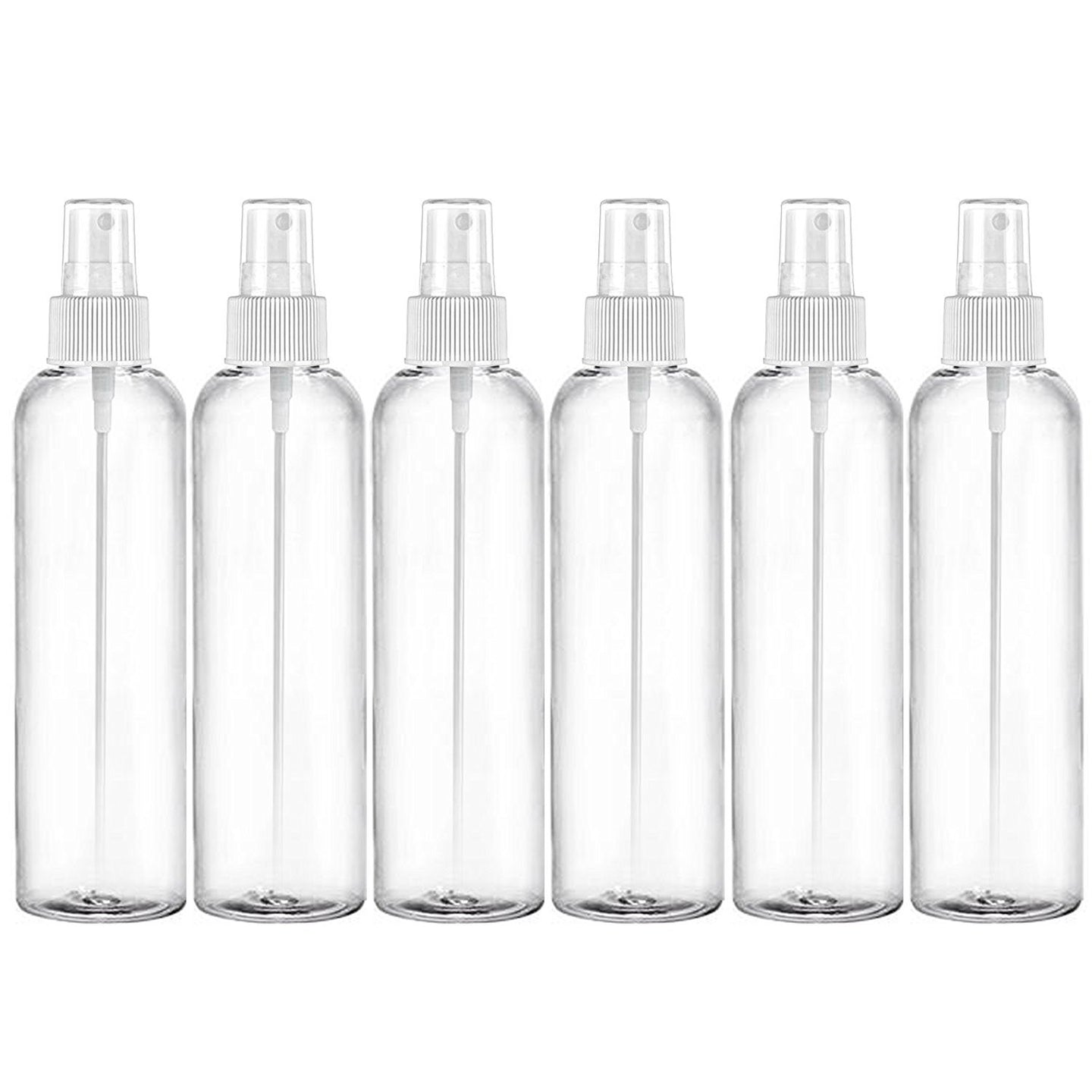 MoYo Natural Labs 8 oz Spray Bottles, Fine Mist Empty Travel Containers, BPA Free PET Plastic for Essential Oils and Liquids/Cosmetics (6 pack, Clear)