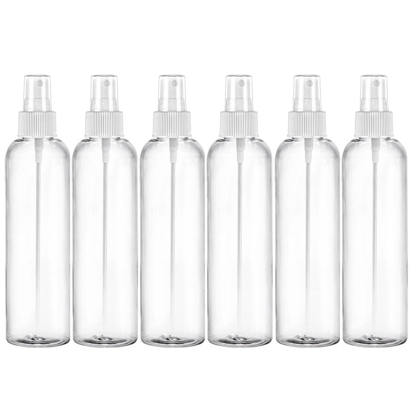 MoYo Natural Labs 8 oz Spray Bottle, Fine Mist Empty Travel Containers, BPA Free PET Plastic for Essential Oils and Liquids/Cosmetics (6 Pack, Clear)