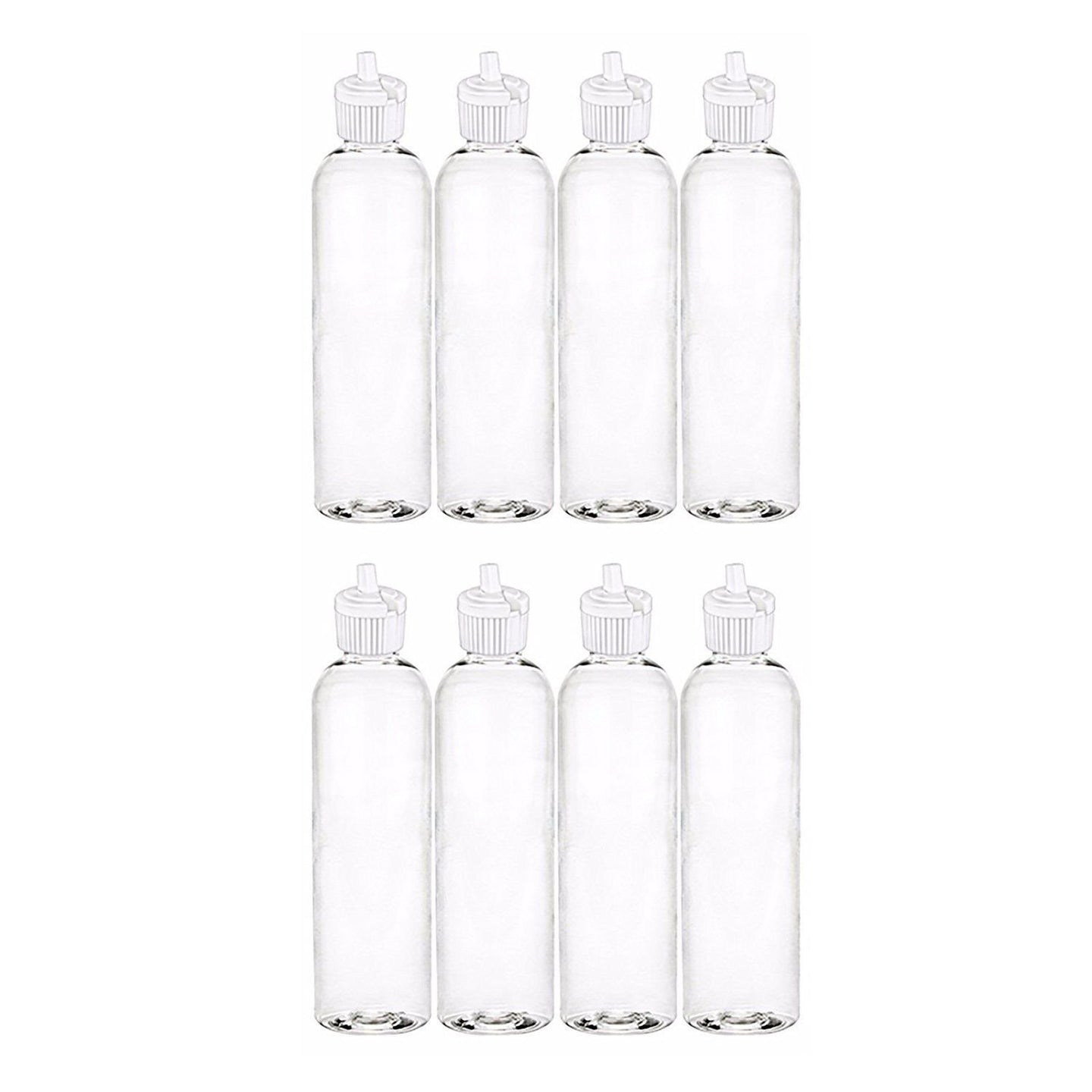 MoYo Natural Labs 4 oz Squirt Bottles, Squeezable Empty Travel Containers, BPA Free PET Plastic for Essential Oils and Liquids, Toiletry/Cosmetic Bottles (Neck 20-410) (Pack of 8, Clear)