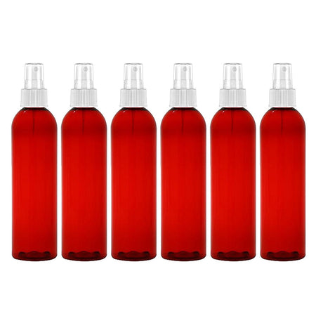8 Oz NO LEAK LARGE PET FINE MIST SPRAY BOTTLE - Cranberry 6 Pack