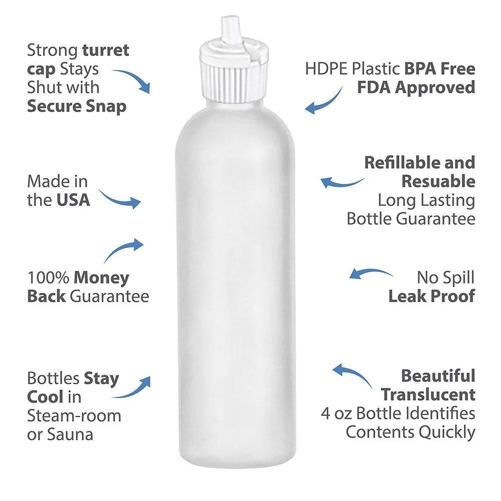MoYo Natural Labs 4 oz Squirt Bottles, Squeezable Empty Travel Containers, BPA Free PET Plastic for Essential Oils and Liquids, Toiletry/Cosmetic Bottles (Neck 20-410) (Pack of 4, Clear)