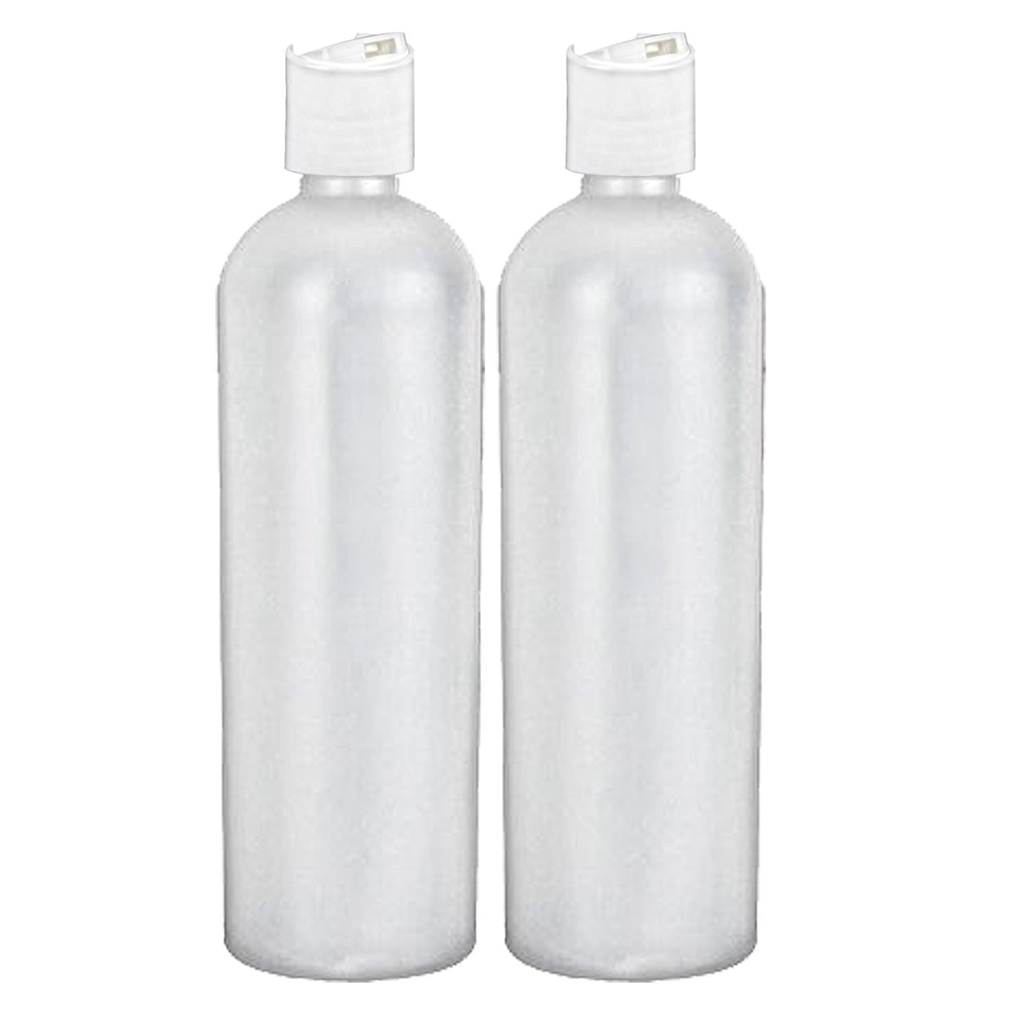 MoYo Natural Labs 16 oz Travel Containers, Empty Shampoo Bottles with Disc Tops, BPA Free HDPE Plastic Squeezable Toiletry/Cosmetics Bottles (2 pack, Translucent White)