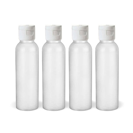 Moyo Natural Labs 2 Oz HDPE Flip Cap Empty Squeezable Travel Bottles BPA Free TSA Compliant Travel Size Bottle Set Made in USA (Pack of 4, HDPE White)