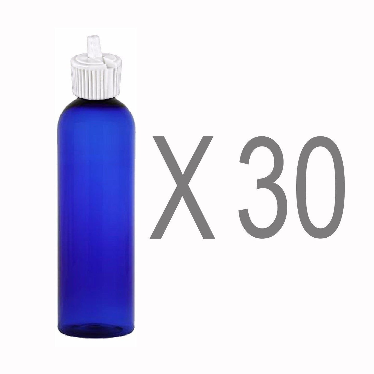 MoYo Natural Labs 4 oz Squirt Bottles, Squeezable Empty Travel Containers, BPA Free PET Plastic for Essential Oils and Liquids, Toiletry/Cosmetic Bottles (Neck 20-410) (Pack of 30, Blue)