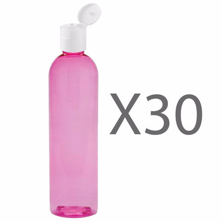 MoYo Natural Labs 8 oz Travel Bottle, Empty Travel Containers with Flip Caps, BPA Free PET Plastic Squeezable Toiletry/Cosmetic Bottles (Pack of 30, Candy Pink)