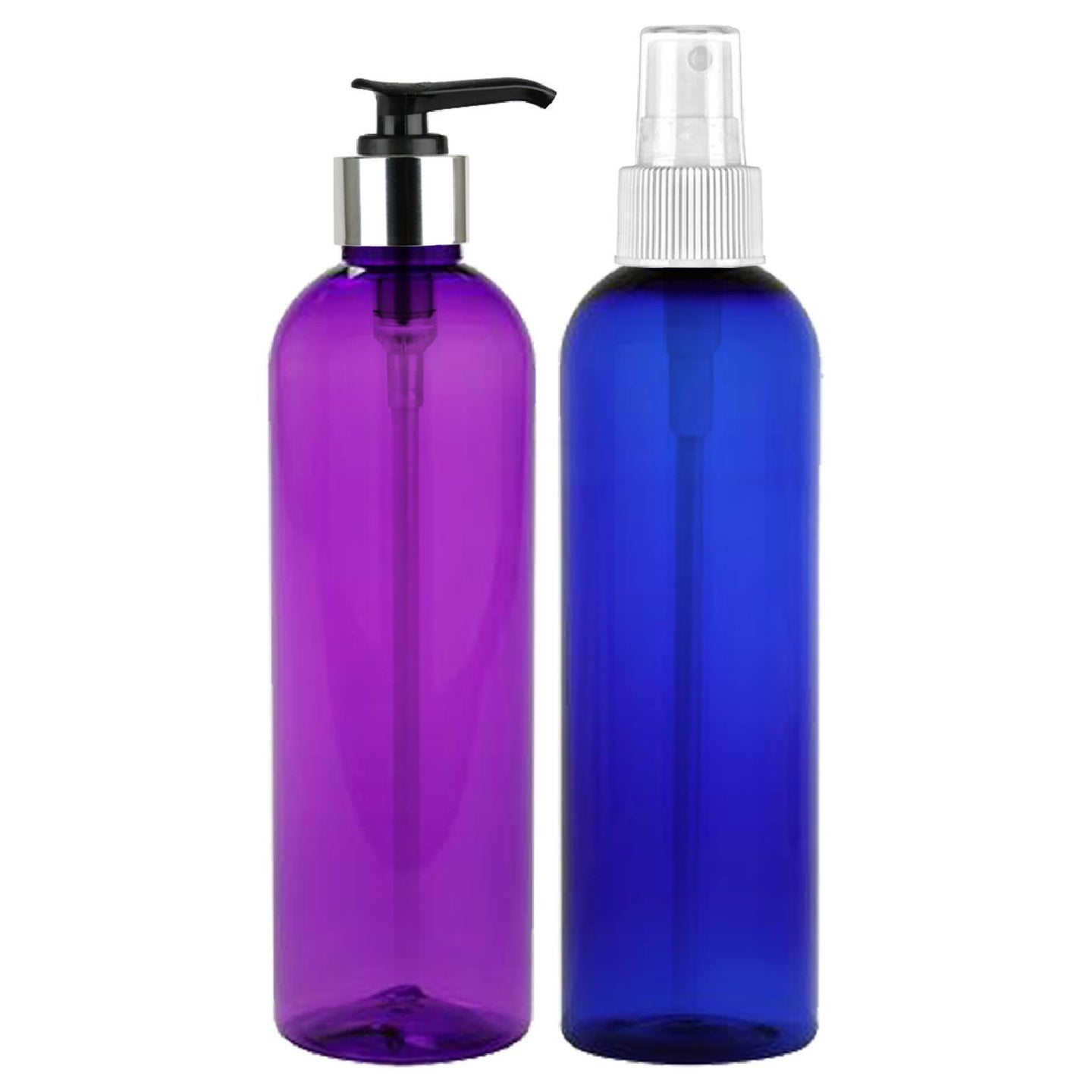 MoYo Natural Labs Elegant Silver Tone Pump Lotion Bottle Purple and Fine Mist Spray Bottle Blue 8 Oz Pack of 2