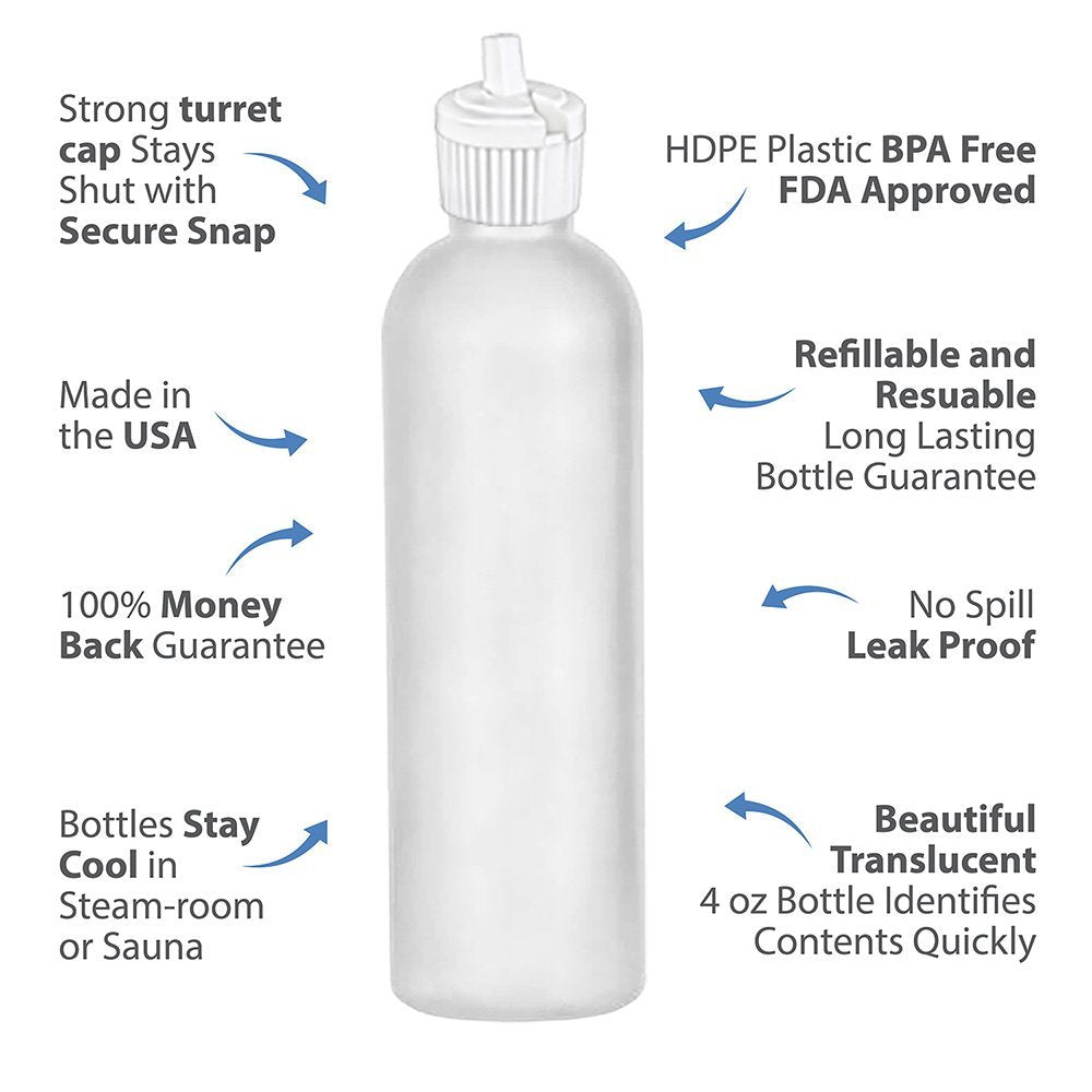 MoYo Natural Labs Bulk Travel Containers HDPE 4 oz Spout Bottle Commercial Grade Turret Top 4 oz Food Safe Mini Squirt Bottle Made in USA (Neck 20-410) (Pack of 30)