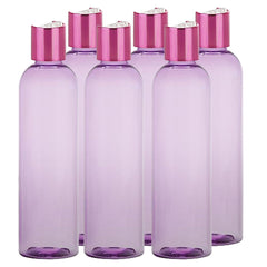 4 Oz PET Shimmering Pink Disc Cap Travel bottle Reusable - Violet Purple 6 Pack