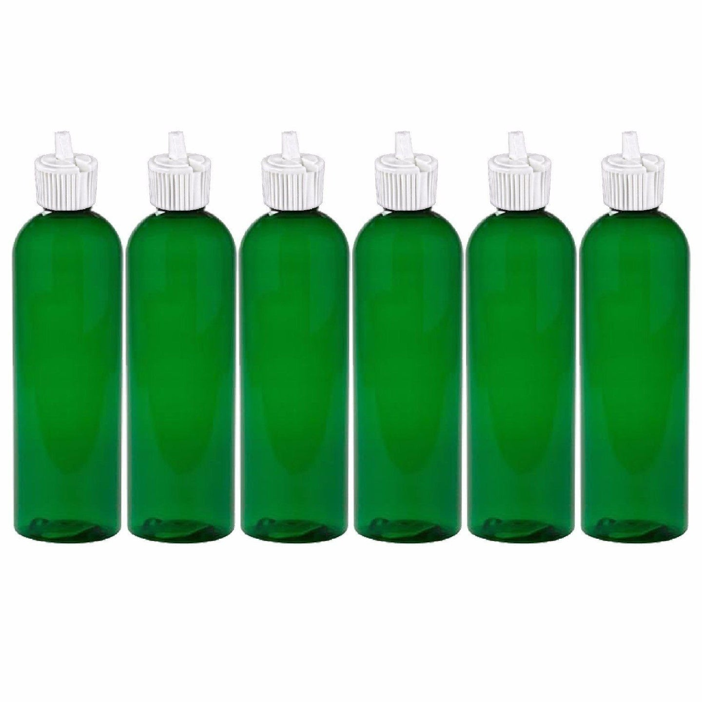 MoYo Natural Labs 4 oz Squirt Bottles, Squeezable Empty Travel Containers, BPA Free PET Plastic for Essential Oils and Liquids, Toiletry/Cosmetic Bottles (Neck 20-410) (Pack of 6, Green)