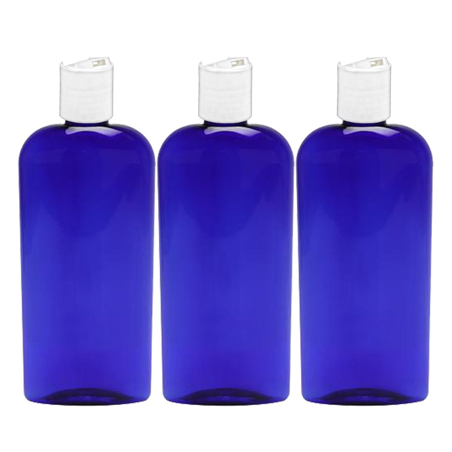 MoYo Natural Labs 8 oz Disc Cap Bottles, Empty Containers for Shampoo or Lotions, BPA Free PET Plastic Squeezable Toiletry/Cosmetic Bottles (Pack of 3, Blue color)
