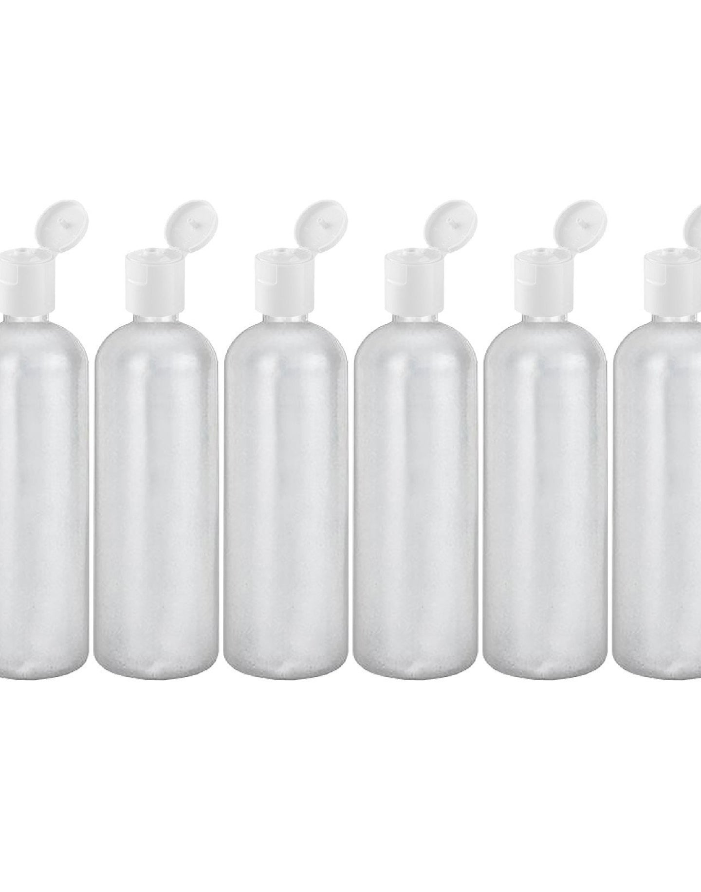 MoYo Natural Labs 16 oz Travel Containers, Empty Shampoo Bottles with Flip Caps, BPA Free HDPE Plastic Squeezable Toiletry/Cosmetics Bottle (Pack of 6, HDPE Translucent White)