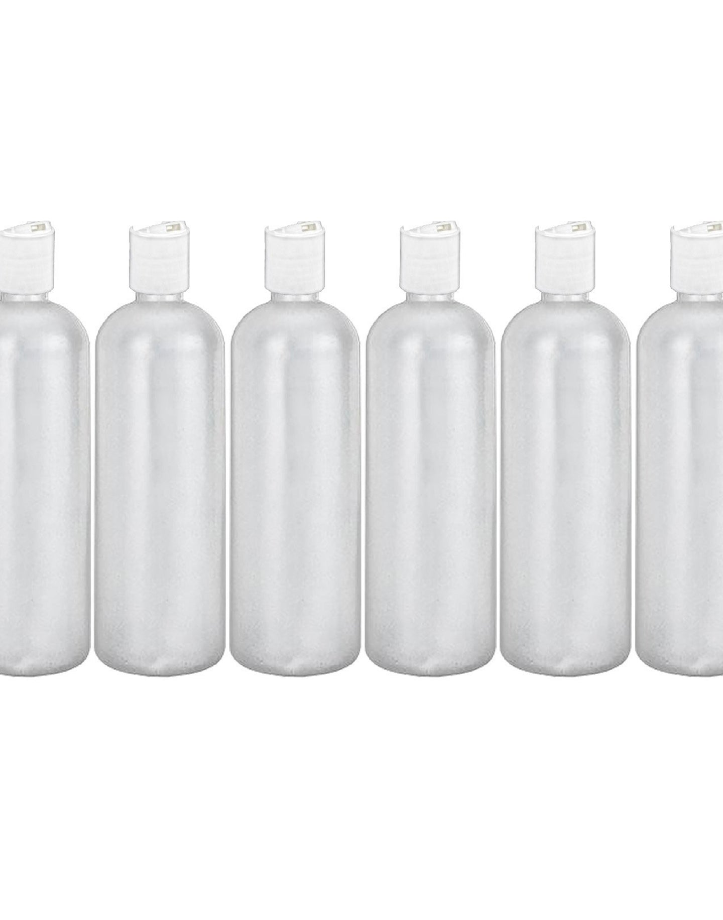 MoYo Natural Labs 32 oz Refillable Bottles, Empty Shampoo Containers with Disc Caps, One Quart Travel Bottles, BPA Free HDPE Squeezable Toiletry/Cosmetics Bottle (Pack of 6, Translucent White)