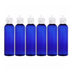 MoYo Natural Labs Turret Spout 8 oz Empty Liquid Bottle with Adjustable Dispenser (Pack of 6, Blue)