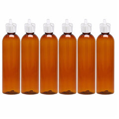 MoYo Natural Labs Turret Spout 8 oz Empty Liquid Bottle with Adjustable Dispenser (Pack of 6, Amber)