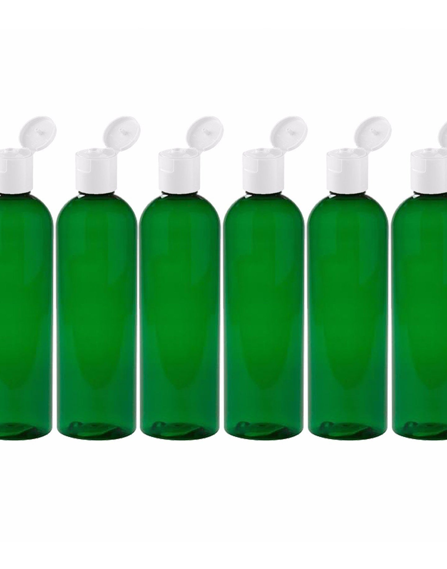 MoYo Natural Labs 8 oz Travel Bottle, Empty Travel Containers with Flip Caps, BPA Free PET Plastic Squeezable Toiletry/Cosmetic Bottle (6 pack, Forest Green)