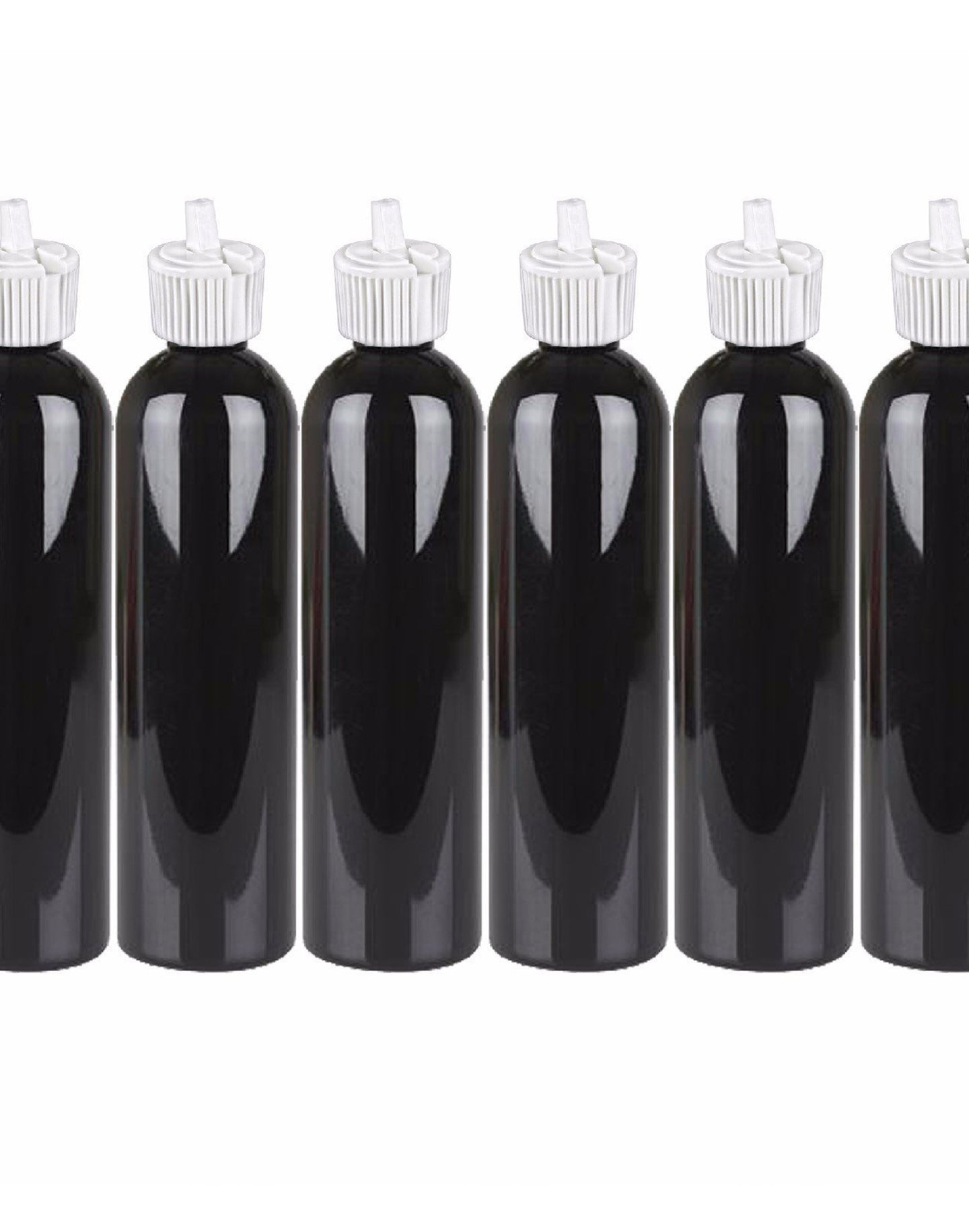 MoYo Natural Labs Turret Spout 8 oz Empty Liquid Bottle with Adjustable Dispenser (Pack of 6, Black)