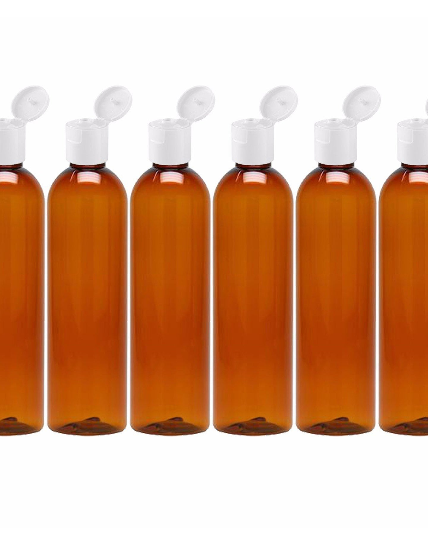 MoYo Natural Labs 8 oz Travel Bottle, Empty Travel Containers with Flip Caps, BPA Free PET Plastic Squeezable Toiletry/Cosmetic Bottle (6 Pack, Amber)