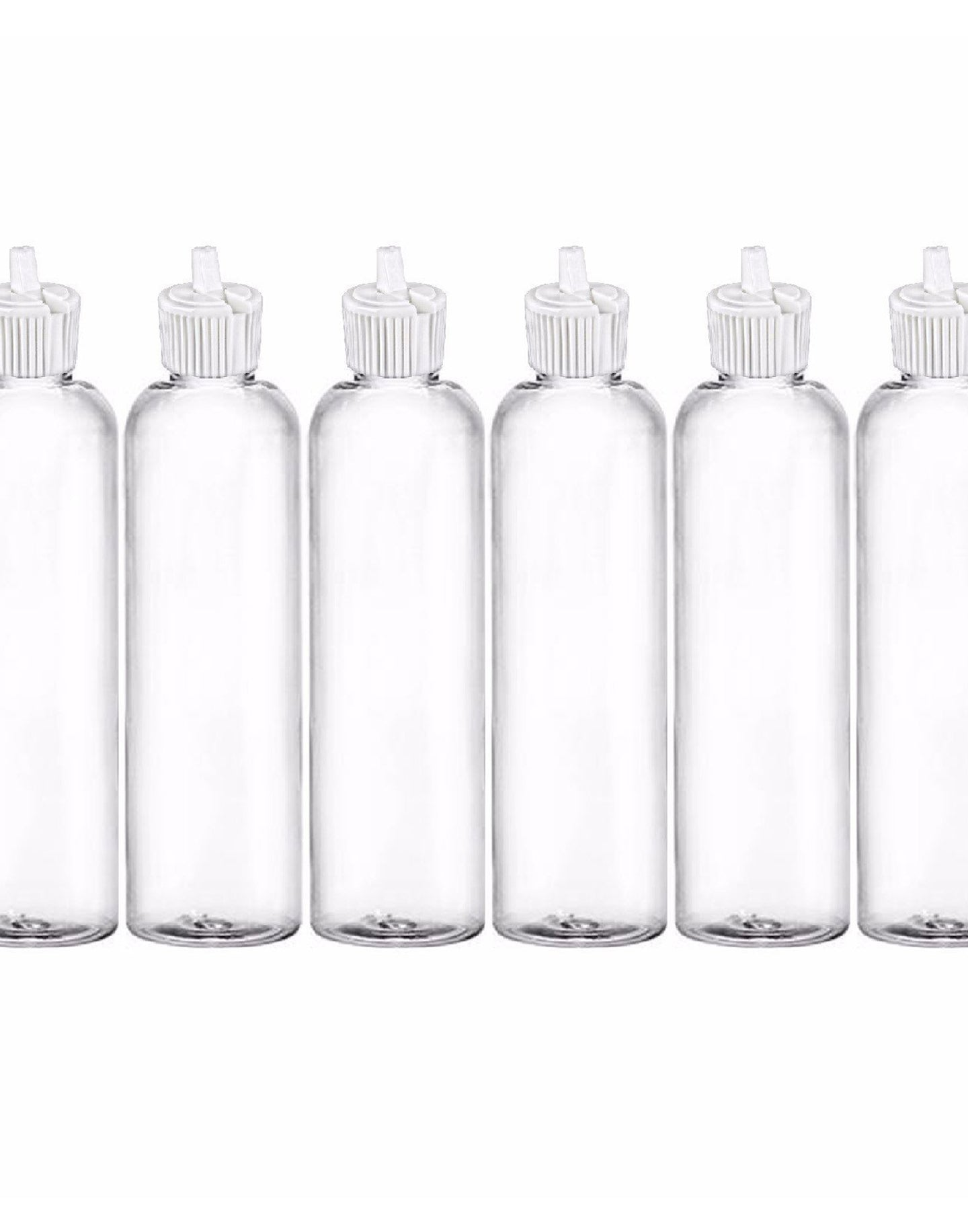 MoYo Natural Labs Turret Spout 8 oz Empty Liquid Bottle with Adjustable Dispenser (Pack of 6, Clear)