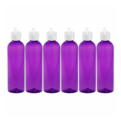 MoYo Natural Labs Turret Spout 8 oz Empty Liquid Bottle with Adjustable Dispenser (Pack of 6, Purple)