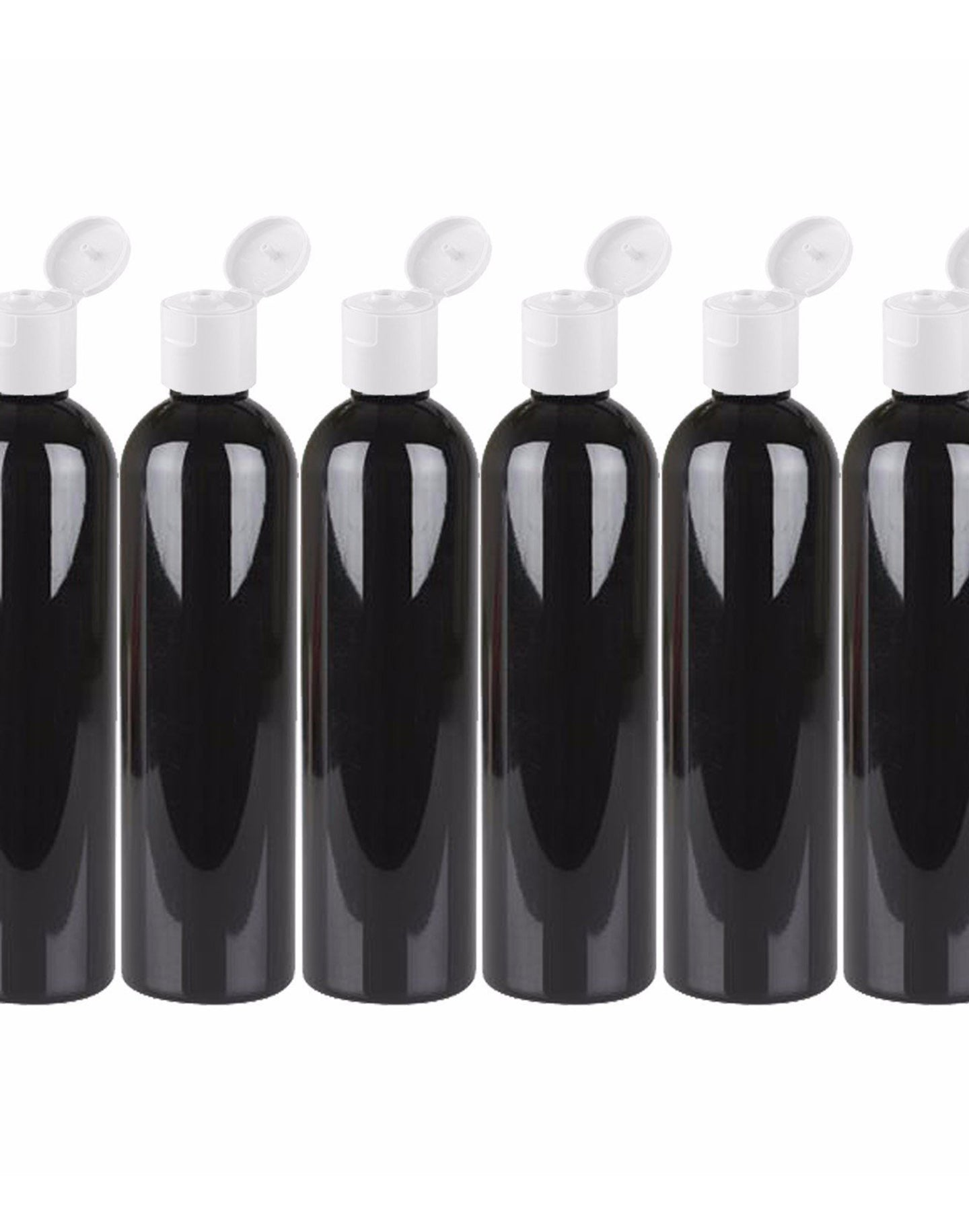 MoYo Natural Labs 8 oz Travel Bottle, Empty Travel Containers with Flip Caps, BPA Free PET Plastic Squeezable Toiletry/Cosmetic Bottle (6 Pack, Black)