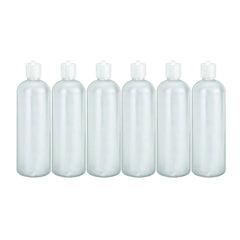 MoYo Natural Labs 16 oz Squirt Bottles, Squeezable Refillable Containers Turret Caps, BPA Free HDPE Plastic for Essential Oils and Liquids, Toiletry/Cosmetic Bottles (Pack of 6, Translucent White)
