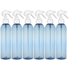 8 Oz Psychedelic No Leak PET Fine Mist Spray Bottles with Trigger - Light Blue 6 Pack