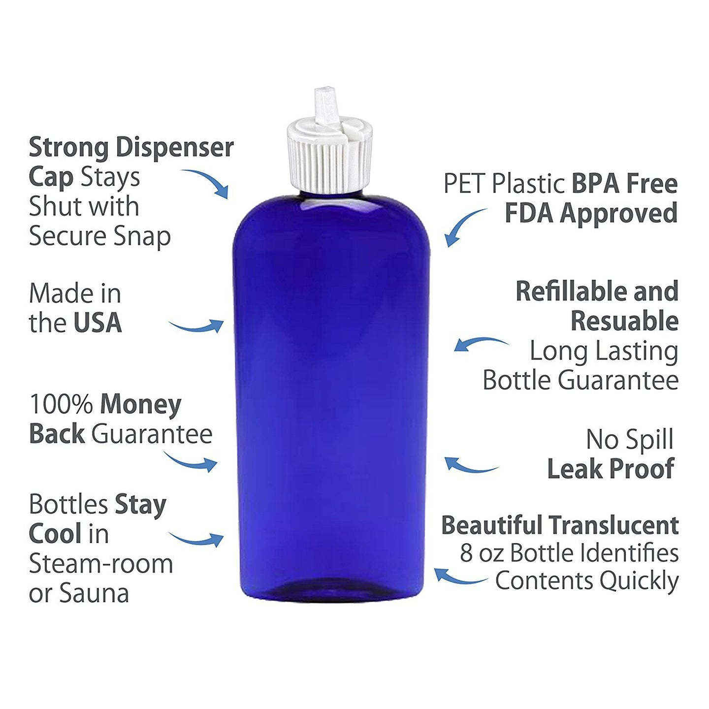MoYo Natural Labs 8 oz Container PET Bottle Turret Style Closure Top Toggle Adjustable Dispenser Refillable Lotion Container Empty Bottle Blue 8 OZ ( Pack of 1, Blue )