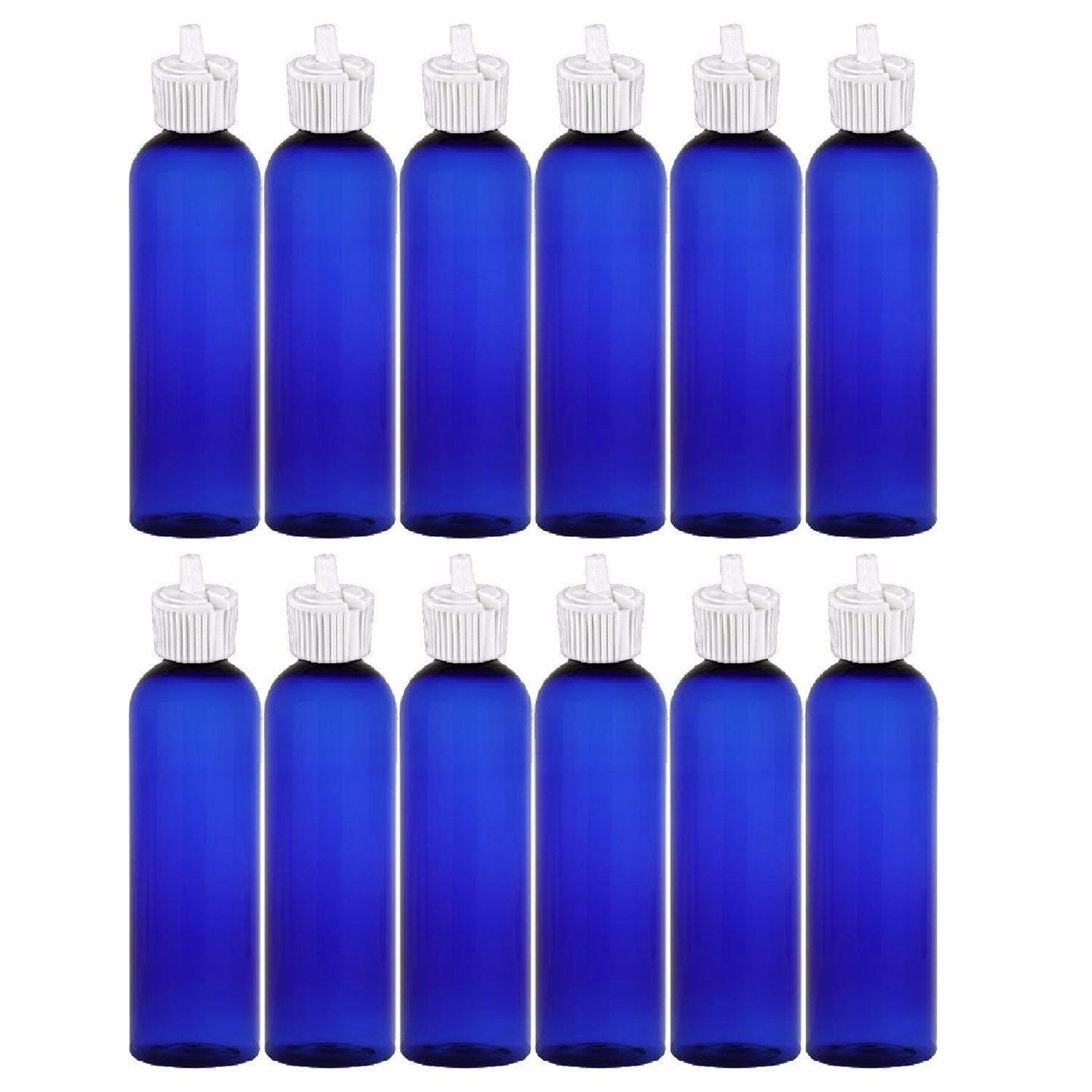 MoYo Natural Labs 4 oz Squirt Bottles, Squeezable Empty Travel Containers, BPA Free PET Plastic for Essential Oils and Liquids, Toiletry/Cosmetic Bottles (Neck 20-410) (Pack of 12, Blue)